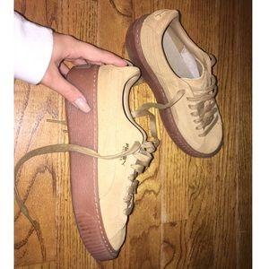 tan puma platform sneakers